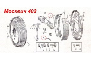 The springs of the rear brake pads Moskvich from 402 to 2140