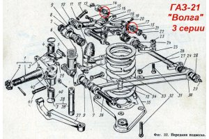 Ring axis top arms GAZ-21