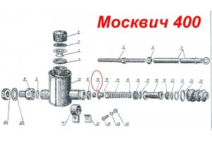 Valve of the main brake cylinder Moskvich-400, Moskvich-401