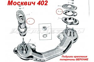 Pillows mounting cross №2 to the frame Moskvich-402, Moskvich-407