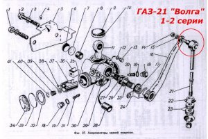 Finger with silentblock rear lever shock absorber GAZ-21, GAZ-12