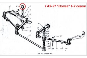 Sleeve of the top carving finger of GAZ-12, GAZ-M20, arm of the pendular lever and top levers GAZ-21