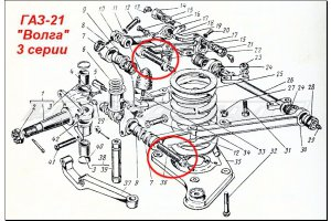 Finger threaded 20-2904068-A for GAZ-M20 and GAZ-21