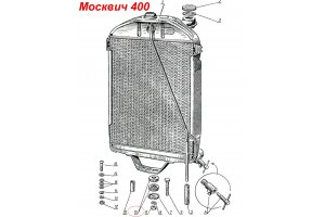 Pillow of a suspension bracket of a radiator Moskvich-400, Moskvich-401