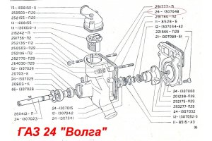 Laying of the water pump GAZ-24