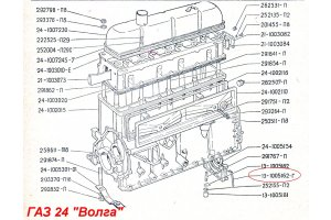 Gasket sealing the holder of the rear oil seal GAZ-24, -13, -14