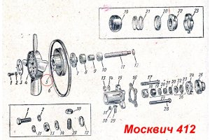 Pulley of the fan of the water pump Moskvich-412, Moskvich-2140, IZH-Moskvich