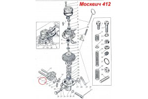 Gas pump gaskets to the cylinder block Moskvich-412, Moskvich-2140, IZH-Moskvich