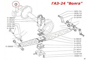 Recoil buffer front and rear suspension GAZ-24, RAF-2203