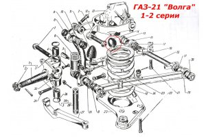 Recoil buffer front suspension GAZ-21 1-2 series, -13