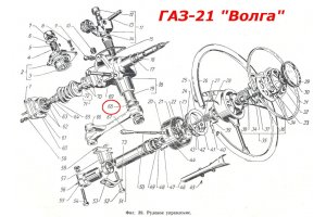 Epiploon of a shaft of a bipod of a steering GAZ-M20, GAZ-21