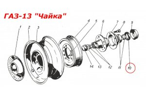 Epiploons of naves of wheels of GAS automobile, UAZ, RAF