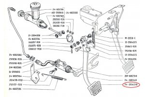 Overlay brake pedals and clutch GAZ-24