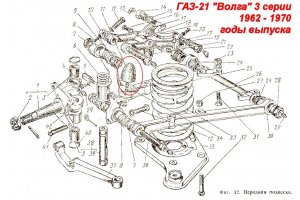 Buffer travel compression front suspension GAZ-M20, GAZ-21