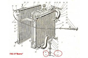Lower fastening radiator GAZ-21