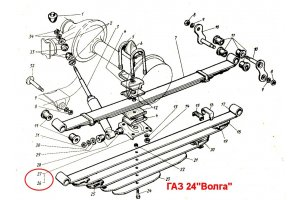 Lining the rear spring with a finger GAZ-24