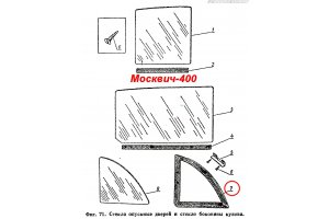 Set of glass and door seals Moskvich-400, Moskvich-401