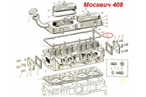 Laying the valve cover Moskvich-407,  Moskvich-408,  Moskvich-2136
