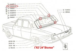 Coupling edging windshield and rear window GAZ-14, GAZ-24