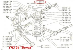 Bushings spacer axis of the upper and lower arms GAZ-24