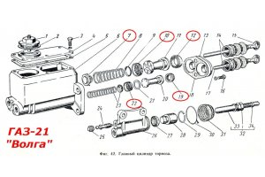 Repair kit for brake and clutch master cylinder GAZ-21