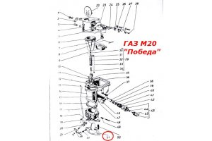 Gasket between the carburetor and the collector GAZ-M20