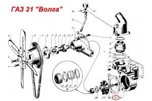 Gaskets water pump for GAZ-21 until 1966 release