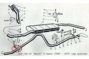Intermediate suspension exhaust system GAZ-21
