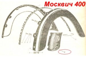Lining the rear wings Moskvich-400, Moskvich-401